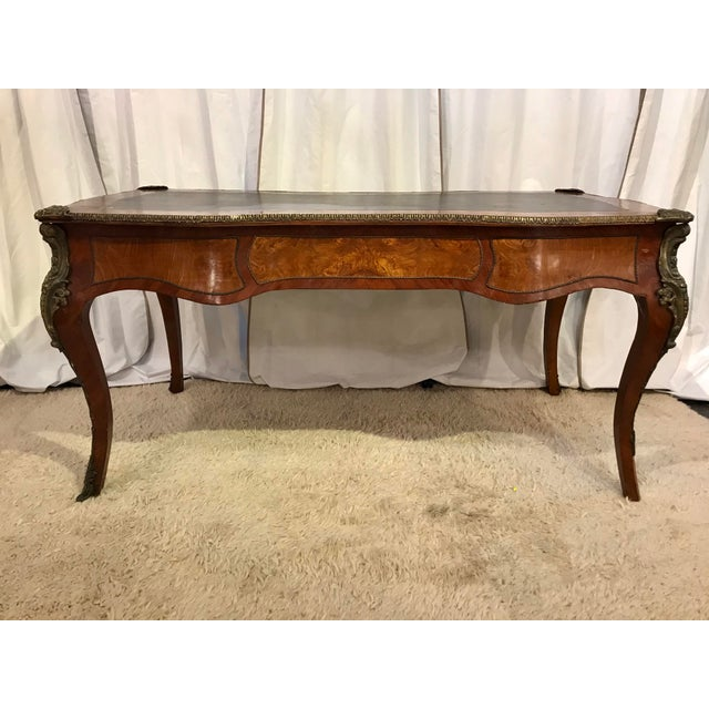 French Louis XV Style Bureau Plat For Sale - Image 3 of 11