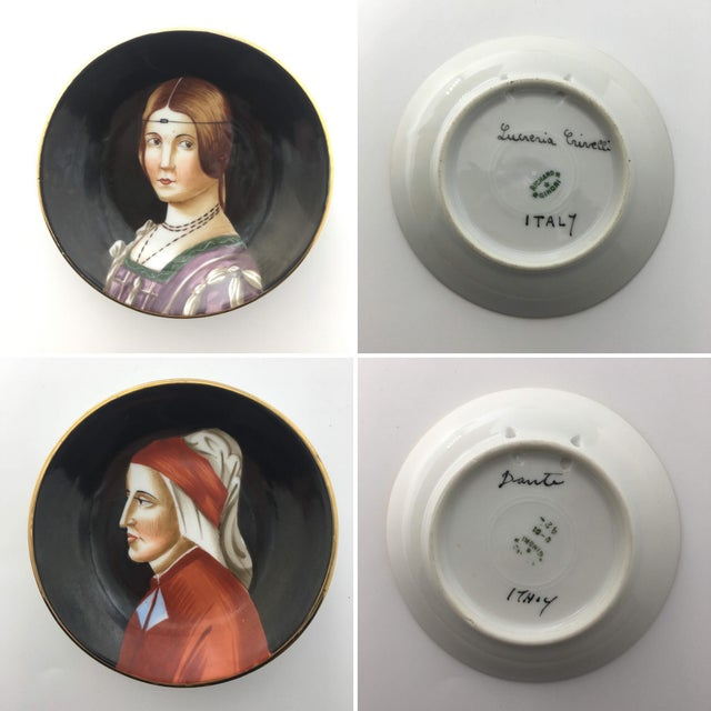 Baroque Hand-Painted Porcelain Portrait Plates by Richard Ginori - Set of 9 For Sale - Image 3 of 7