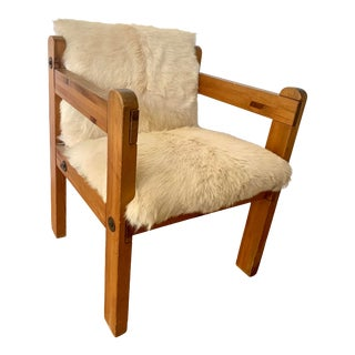 1970s Pine and Cowhide Chair For Sale