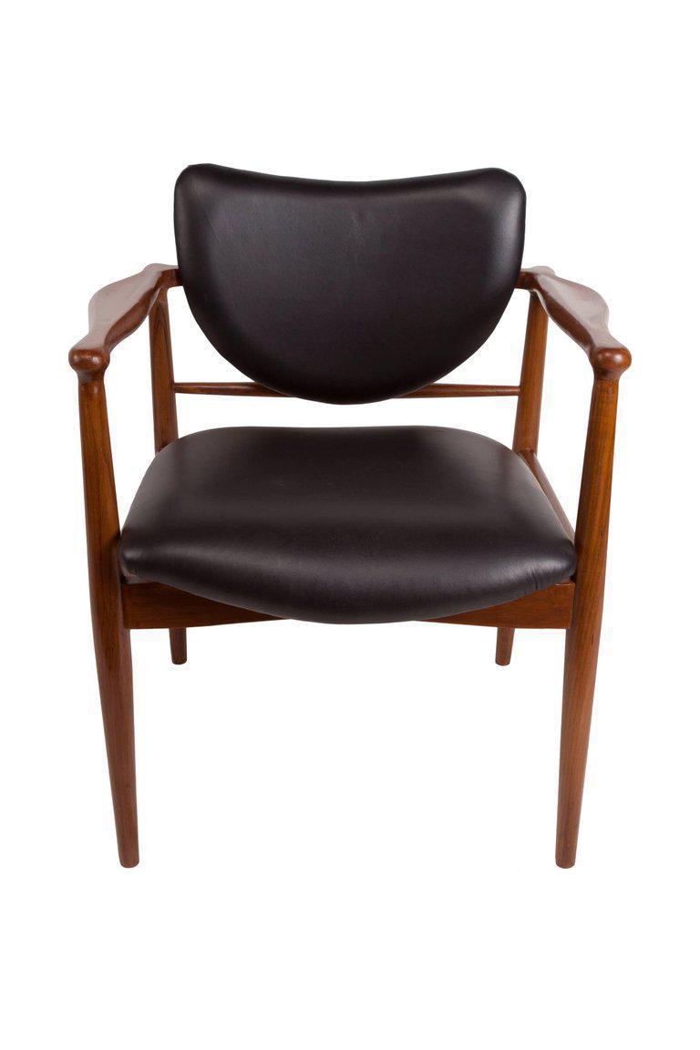 1950s finn juhl danish mid century modern teak and leather armchair 1933aspectfitheight1600width1600