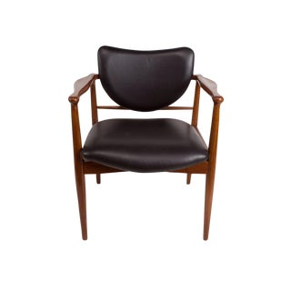 1950s Finn Juhl, Danish Mid-Century Modern Teak and Leather Armchair For Sale