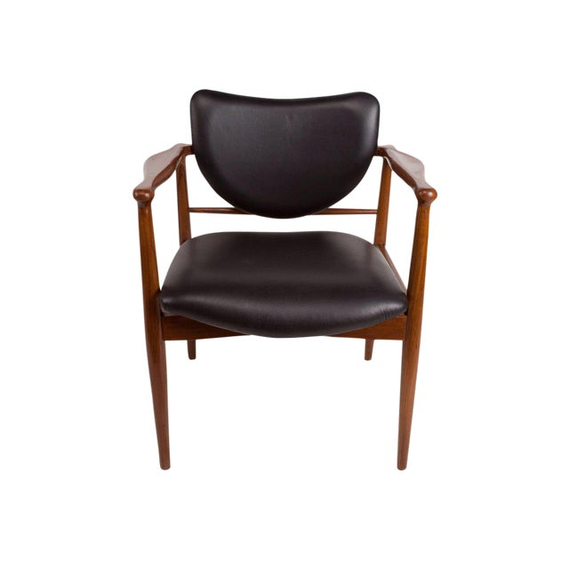 This is a fabulous Danish Mid-Century Modern teak and black leather chairs attributed to Finn Juhl for Baker. Great design...
