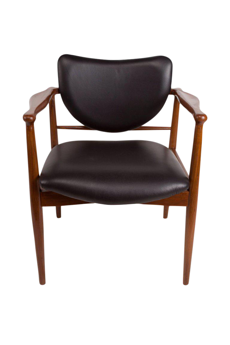 This Is A Fabulous Danish Mid Century Modern Teak And Black Leather Chairs  Attributed To