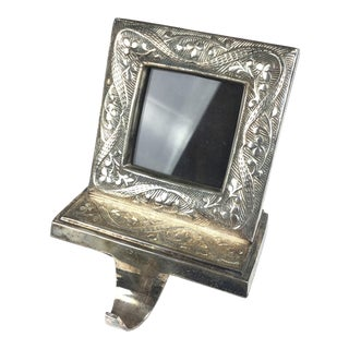 Vintage Silver Plate Photo Frame Fireplace Stocking Holder For Sale