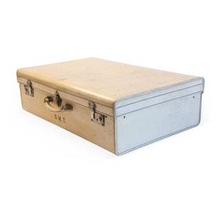 Finnigan's London Antique Vellum Suitcase With Tray For Sale