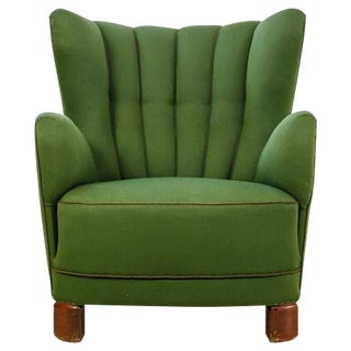 Danish Wingback Lounge Chair with Green Wool Upholstery, 1940s For Sale