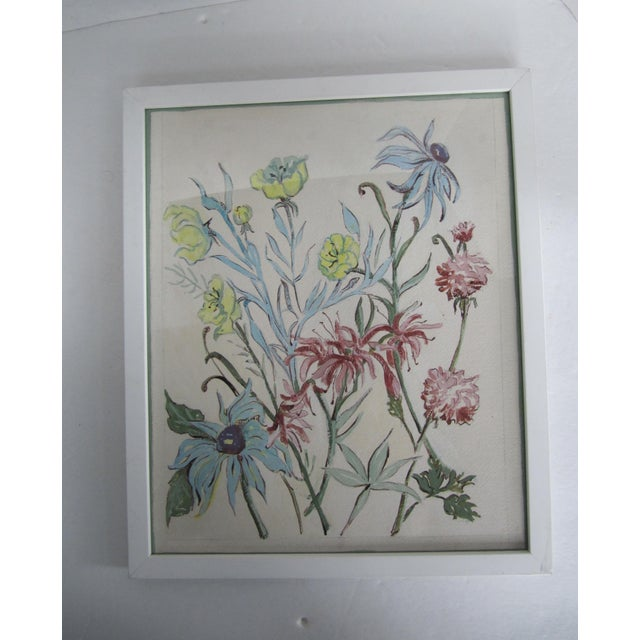 Vintage acrylic painting of flowers framed in a white frame. This piece would look beautiful on a gallery wall.