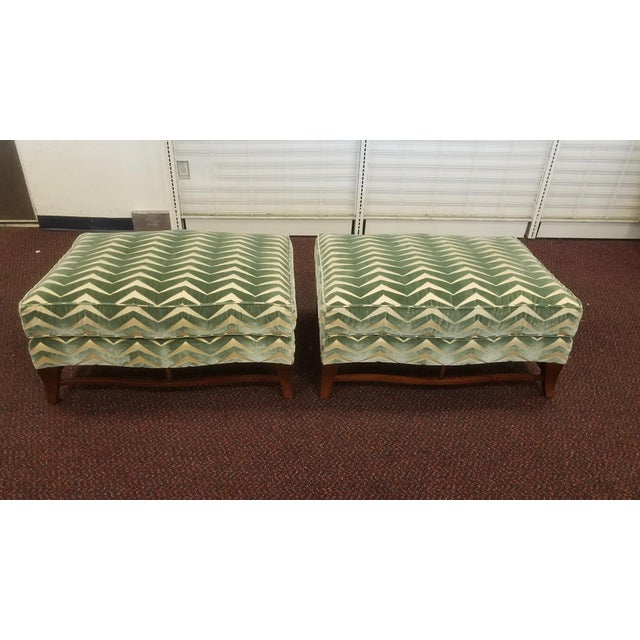 Classic Donghia Victoire Ottomans - A Pair sold as found in original condition showing some signs of wear to upholstery...