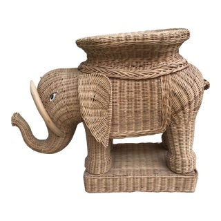Vintage Asian Wicker Elephant Plant Stand