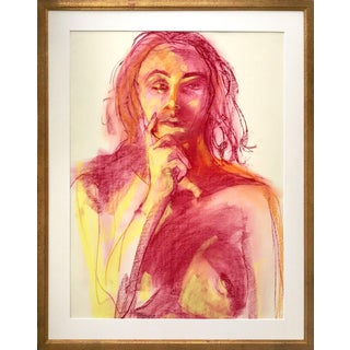 Vintage Expressionist Pastel Portrait of a Female Nude by Gerard Haggerty For Sale