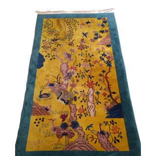 Vintage Chinese Art Deco Nichols Style Rug - 3′11″ × 6′9″ For Sale