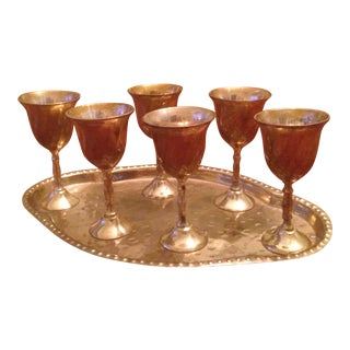 Vintage Brass Cordial Glasses and Tray - Set of 7
