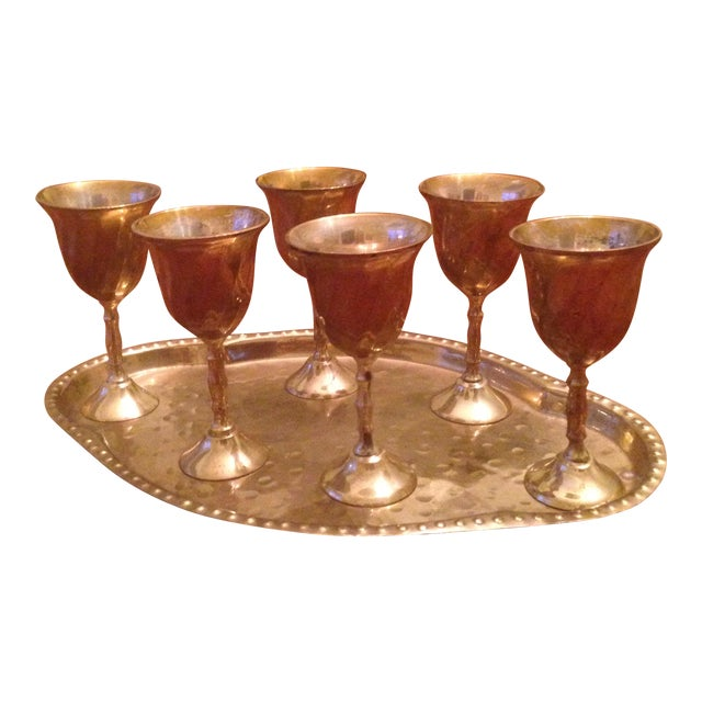 Vintage Brass Cordial Glasses and Tray - Set of 7 For Sale