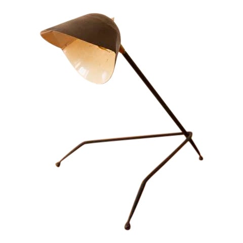 Antique French Tripod Desk Lamp in Serge Mouille Style For Sale