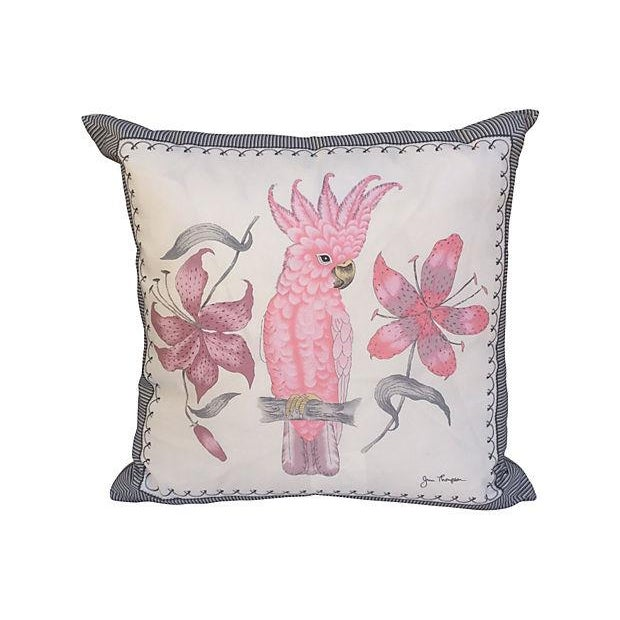 Pink Cockatoo Silk Scarf Pillows- A Pair - Image 2 of 5
