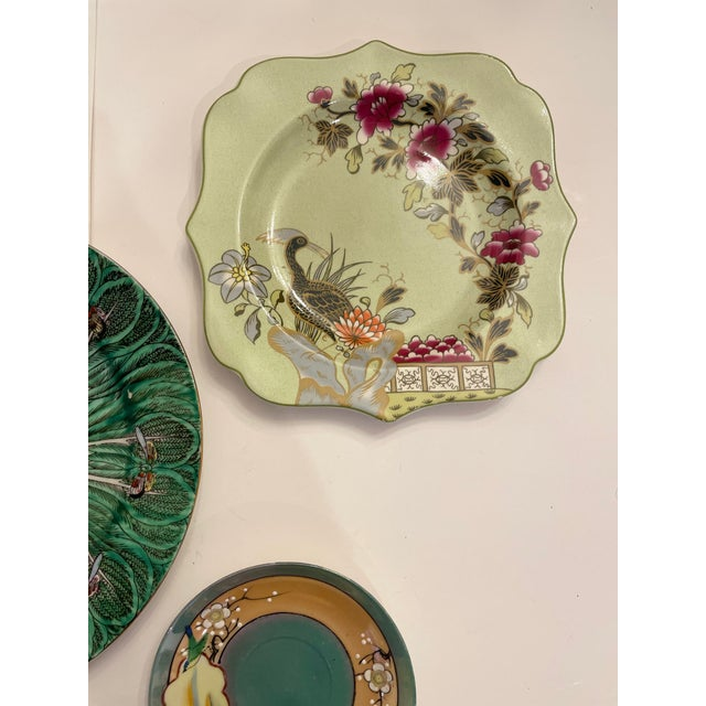 Late 20th Century Green Asian Mixed Decorative Plates- a Set of 6 For Sale - Image 5 of 8