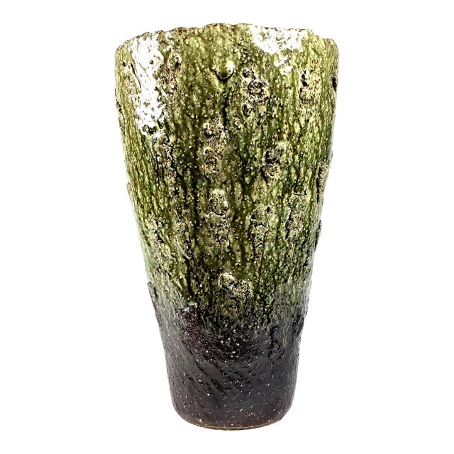 Japanese Wood Fired Contemporary Textural Organic Vase For Sale