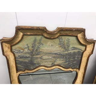 Hollywood Regency Venetian Trumeau Partial Gilt and Painted Chinoiserie Mirrors With Lights by Palladio - a Pair Preview