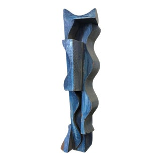 1980s Geometric Dyed Wood Abstract Sculpture Study by Duayne Hatchett For Sale