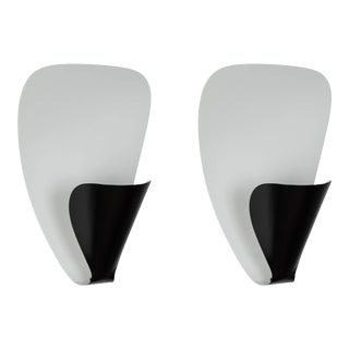 Michel Buffet 'B206' Black and White Wall Lamps - a Pair For Sale