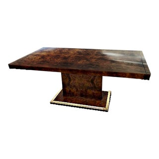 1970's Thomasville Burl Wood and Brass Dining Table For Sale