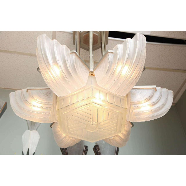 1930s Large and Important Art Deco Chandelier by Sabino For Sale - Image 5 of 9
