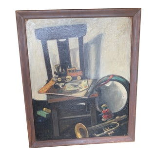 Mid-Century Still Life With Toys Painting, Framed For Sale