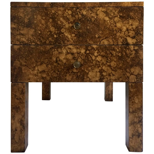 Brown Mid Century Modern Parsons-Style Tortoise Side Table For Sale - Image 8 of 8