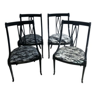 Biedermeier Empire Black Lacquer Swan Dining Chairs With Schumacher Upholstery - Set of 4 For Sale