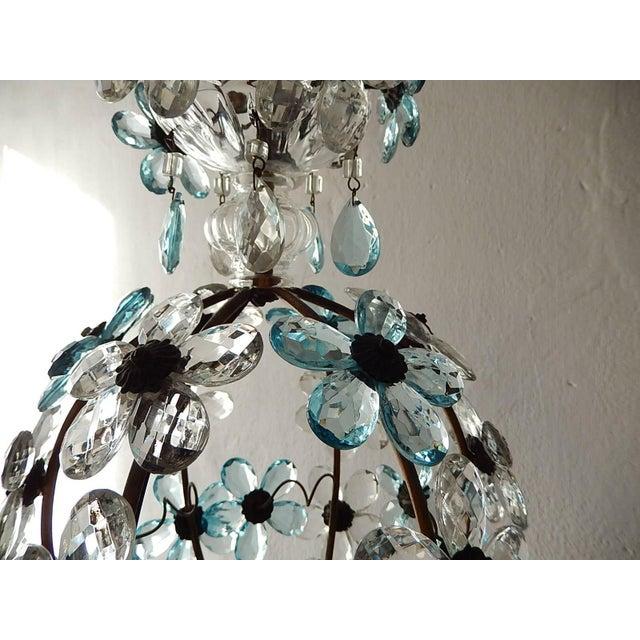 Aqua French Aqua Blue Flower Ball Crystal Prisms Maison Baguès Style Chandelier For Sale - Image 8 of 11