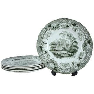 Verona Green Transferware Plates - Set of 5 For Sale