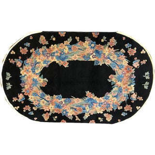 Antique Oval Black Ground Art Deco Chinese Rug - 3′ × 5′ For Sale