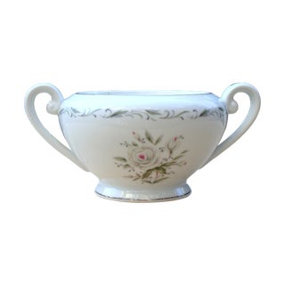 Vintage Porcelain Floral Silver Trim Sugar Dish For Sale