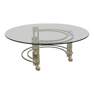 Charles Hollis Jones Mid Century Modern Brass & Lucite Round Glass Top Coffee Table For Sale