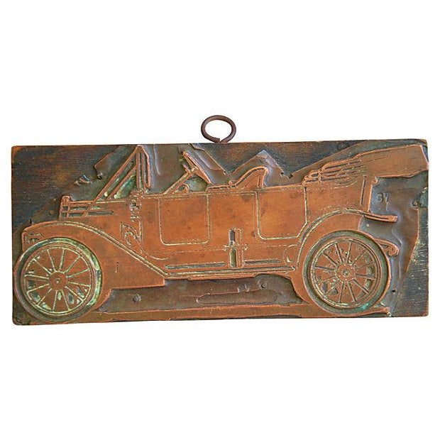 Antique French Automobile Printer's Copper Plate - Image 1 of 4