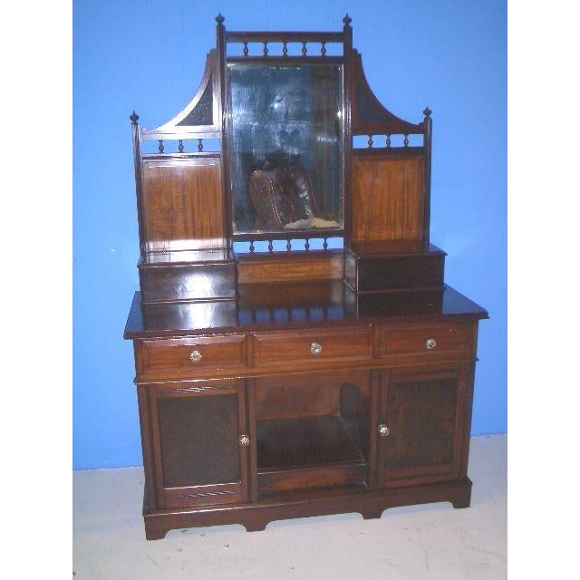 Glass Antique English Mahogany Vanity Dressing Table For Sale - Image 7 of 7
