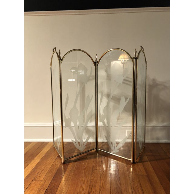 Vintage Mid Century Hollywood Regency 4 Panel Brass Etched Glass Fireplace Screen For Sale - Image 11 of 11