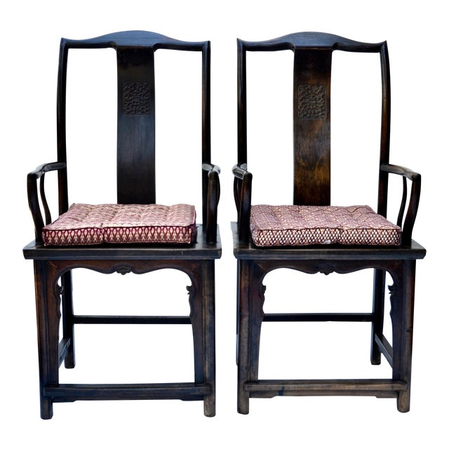 Antique Pair Tall Chinese Scholar Chairs For Sale