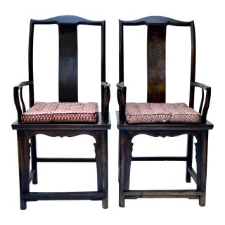 Antique Tall Chinese Scholar Chairs - a Pair For Sale