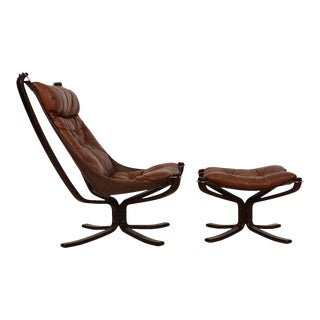 Norwegian Rosewood Leather 'Falcon' Lounge Chair + Ottoman For Sale