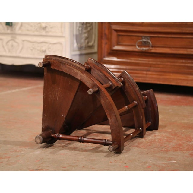 Brown Mid-20th Century English Carved Mahogany and Leather Spiral Step Library Ladder For Sale - Image 8 of 9