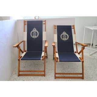 Oakwood Deck Chairs With Blue and White Upholstery - a Pair Preview