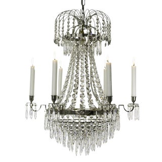 6 arm Empire Crystal Chandelier in nickel plated brass with crystal drops (width 56cm/22 inches)