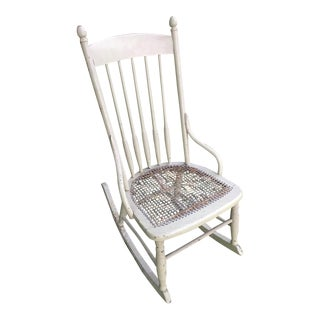 Vintage Boho Light Green Wicker Rocking Chair Rocker For Sale