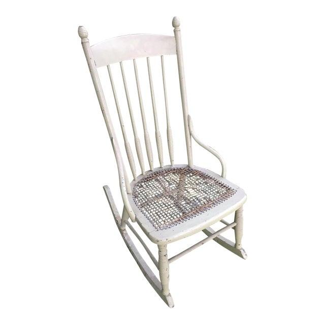 Vintage Boho Light Green Wicker Rocking Chair Rocker For Sale