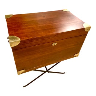 English Campaign Style Writing Box or Accent Table For Sale