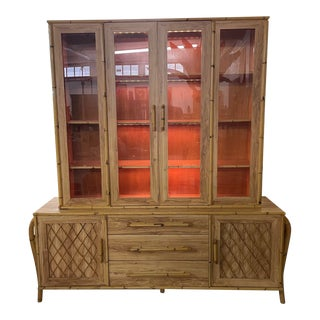 Bamboo and Rattan Sculptural Lighted China Cabinet For Sale