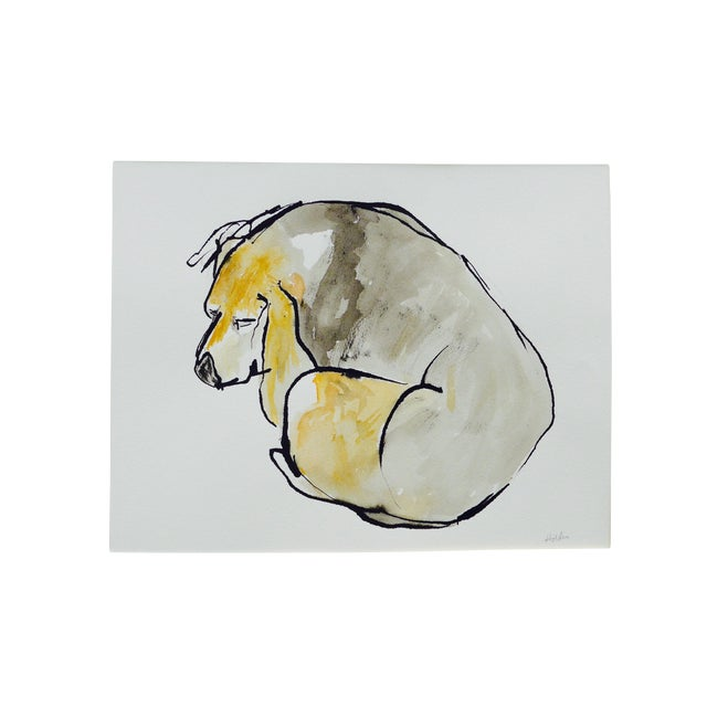 Contemporary Martha Holden Beagle Sleep Watercolor Painting - Image 1 of 4