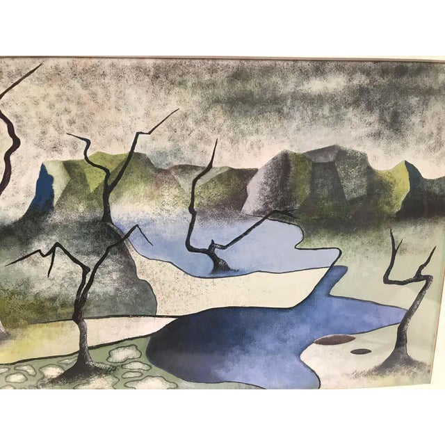 Surrealist lunar landscape made with watercolor and signed Rothbart.