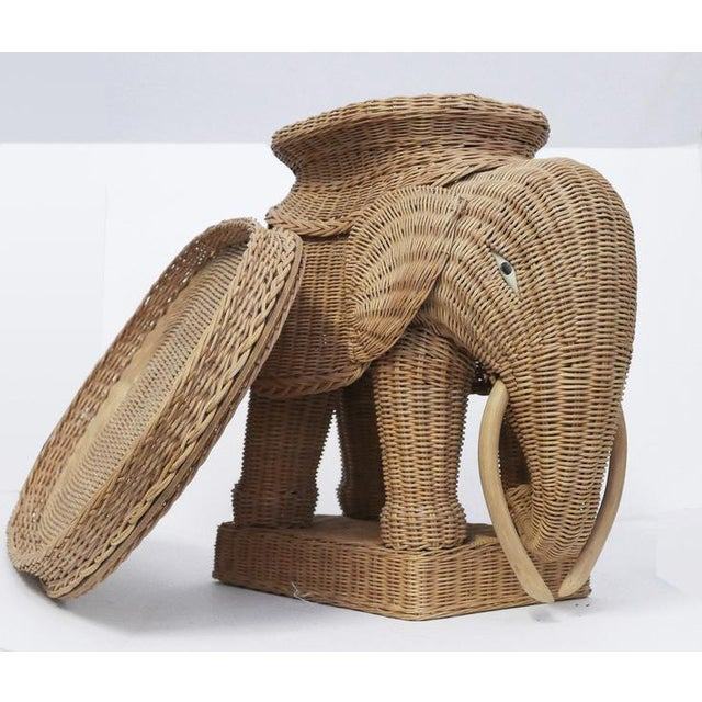 1970s Vintage Wicker Elephant Side Tray TableBoho For Sale In Palm Springs - Image 6 of 8